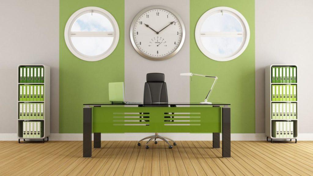 Оформление офиса в зеленых оттенках